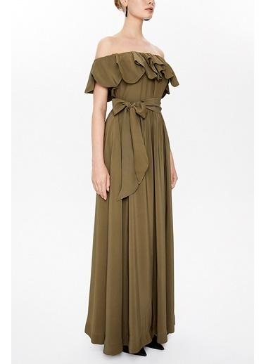 Societa Önü Fırfırlı Düşük Omuzlu Elbise 93005 Haki